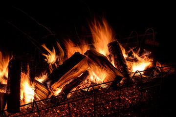 logs burning on open fire