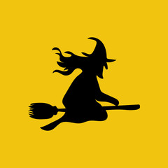 Witch on the broom silhouette