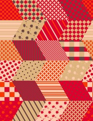 Autumn seamless patchwork pattern with zigzags. Quilting design in warm colors. Multicolor vector illustration.