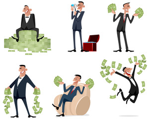 Six businessmen with money