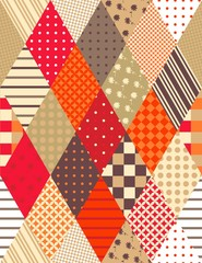 Beautiful patchwork seamless pattern with colorful rhombus. Vector background. Can be used for paper, wallpaper, wrapping, textile, chocolate packaging.
