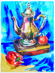 blue watercolor painting still life with jug, pepper, apple and