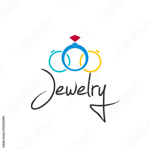 Jewelry logo vector illustration isolated on white background, creative jewellery rings brand element design