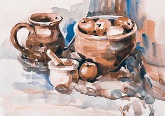watercolor sketch painting of still life with vintage tableware