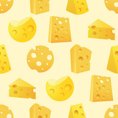 Seamless Pattern with tasty slices of Cheese