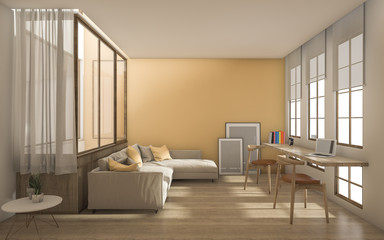 3d rendering yellow modern livingroom with daylight from window