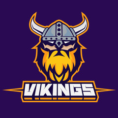 Modern professional logo for sport team. Viking mascot. Vikings, vector symbol on a dark background.