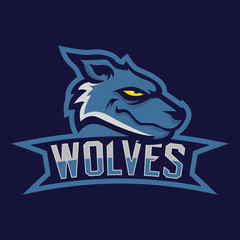 Modern professional logo for sport team. Wolf mascot. Wolves, vector symbol on a dark background.