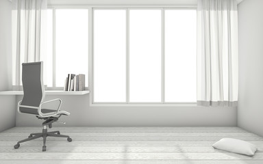 3d rendering white minimal working room interior with working table