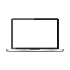 Laptop with white screen flat icon. Computer vector illustration on white background.