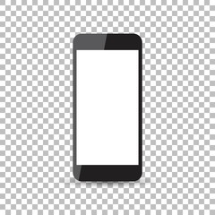 Black realistic smartphone icon with isolated blank screen. Modern simple flat telephone. Vector illustration.