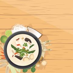 Tom Kha Gai ,Thai Chicken soup in coconut milk