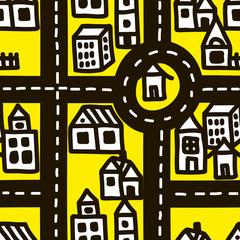 Small town roads seamless pattern.