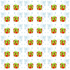 Christmas presents seamless pattern. Vector illustration of cartoon gifts isolated on white. Printable new year pattern