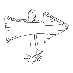 Doodle sketch of a wooden arrow on white background
