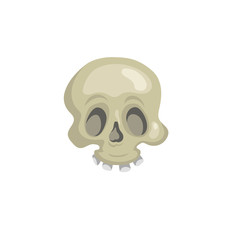 Cartoon trendy skull simple gradient icon. Vector halloween illustration.