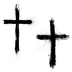 Set of Abstract Grunge Crosses.