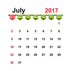 Vector simple calendar 2017 year july month.