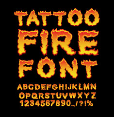 Tattoo Fire font. Flame Alphabet. Fiery letters. Burning ABC. Ho