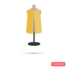 Unfinished clothes on a mannequin color flat icon