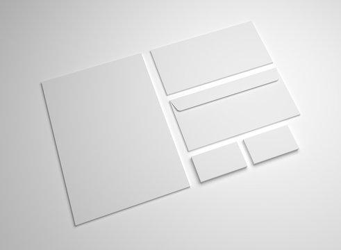 Blank 3d illustration mockup letter, business cards and envelopes.