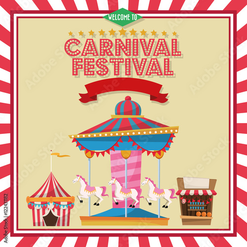 Carousel striped tent and stand. Carnival festival fair circus and ...