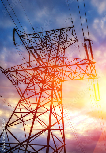 """High-voltage power line close-up at sunset"" Stock photo ..."