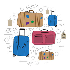 modern circle design with luggage. Suitcases and bags drawn by hand