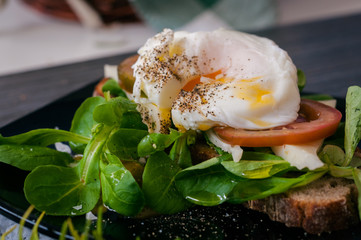the poached egg with greens
