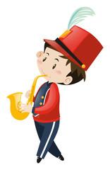School band member playing saxophone