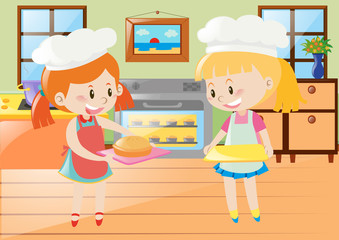 Two girls baking pie in kitchen
