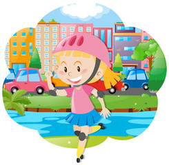 Girl with rollerskate and helmet
