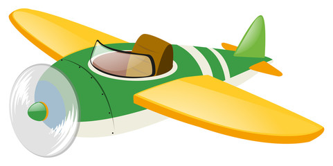 Green airplane with yellow wings