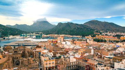 Panoramic the city of Cartagena, Spain