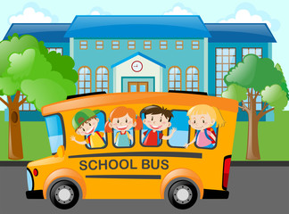 Children riding school bus to school