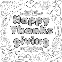 Autumn graphic card with fruits and vegetables in black and white colors. Vector Thanksgiving day design. Coloring book page design for adults and kids