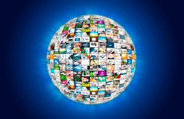Television broadcast multimedia sphere globe abstract composition
