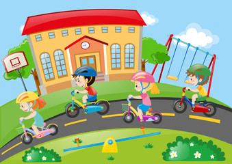 Children riding bike on the road