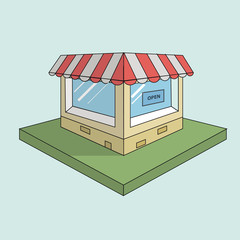 shop flat design 3d