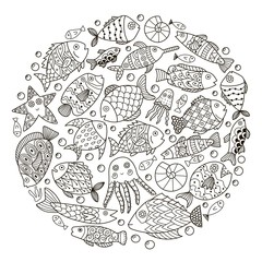 Circle shape pattern with fantasy fish for coloring book