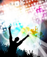 Concert, disco party. Music illustration