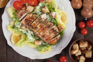 Chicken steak with caesar salad