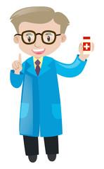 Pharmacist holding box of medicine