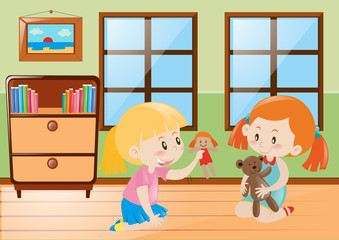 Two girls playing dolls in the room