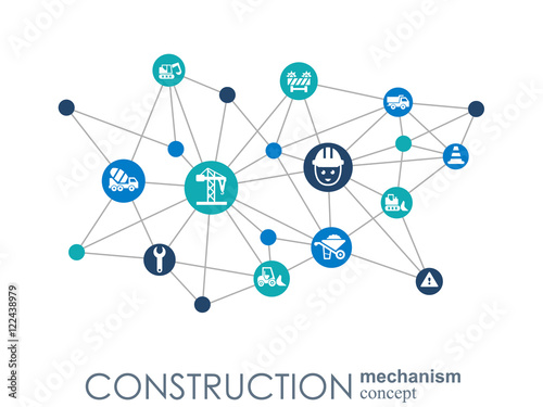 Construction network hexagon abstract background with for Architectural engineering concepts