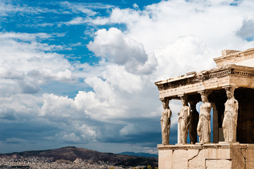 Recess Fitting Athens Caryatides of Erechtheion in Acropolis, Athens, Greece