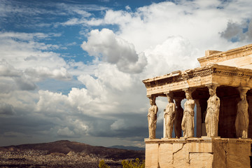 Caryatides of Erechtheion in Acropolis, Athens, Greece