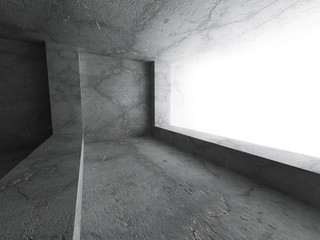 Concrete dark room interior. Architecture abstract background