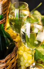 Two glasses and bottle of white wine, grapes with leaves