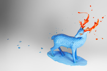 Blue and orange deer toy